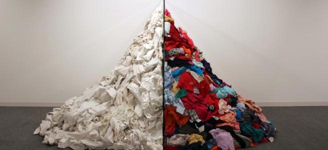 Artwork showing fast fashion industry garments